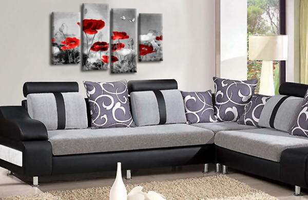 CHINESE FLORAL FLOWER SPLIT MULTI 4 PANEL RED GREY PICTURE
